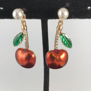 How bout them Apples Crystals Pearls Post Earrings
